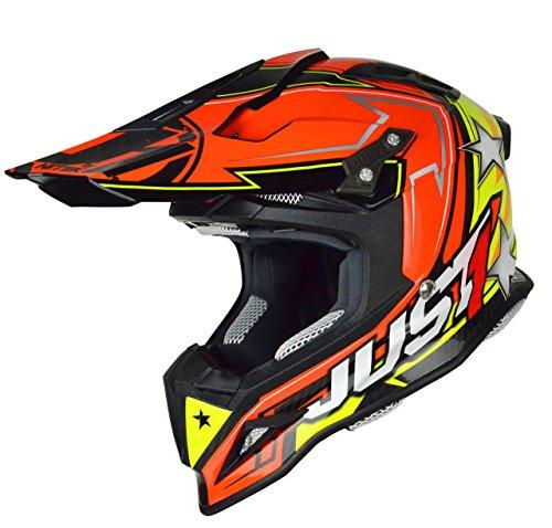 Just 1 Helmets - Casco Motocross J12 Casco Aster, Arancione/Giallo, XS