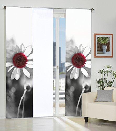 Home Fashion 3er-Set Flächenvorhänge LOUTON | 2X Motiv- und 1x Uni-Flächenvorhang | blickdichter Dekostoff | 245 x 60 cm | 88319-796