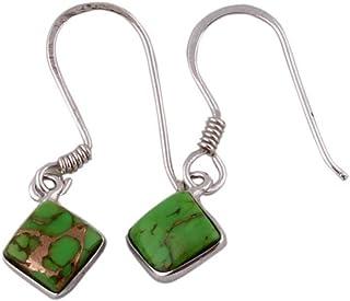 Pendientes de plata para regalo de verano, pendientes colgantes florales, pendiente de turquesa verde cuadrado, pendientes colgantes Plata Aretes, Sterling Silver Earrings for Women
