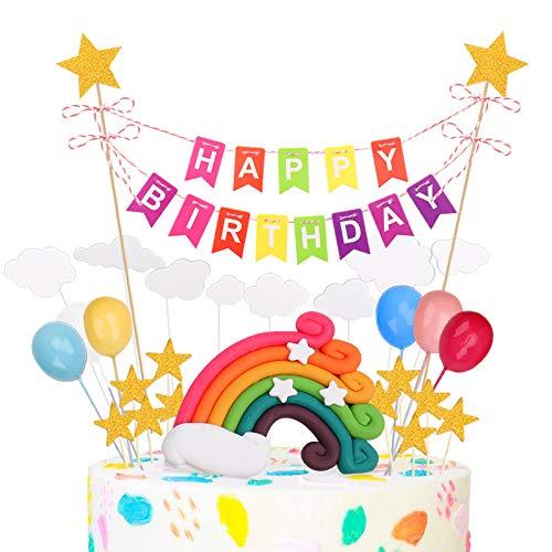 SNUNGPHIR Arco Iris Decoración de Tartas, Cake Topper con Happy Birthday Bandera Rainbow Globos Arcoiris Estrella Cake Topper Decorar Tartas para Infantiles Niños Niñas