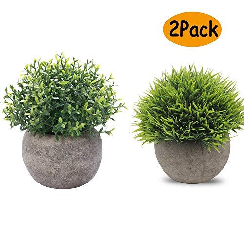 Catrne Künstliche Pflanzen Miniplastik dekorative Grünpflanzen mit grauen Töpfen für Ihr Büro und Ihrem Wohnbereich zur Zimmerdekoration