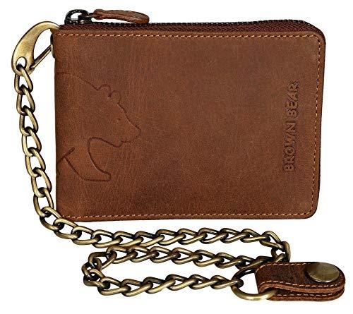 Brown Bear BB-BW-5202 - Monedero con cadena (piel, 5 compartimentos, cierre de cremallera, 25 cm, trabilla para sujetar al pantalón), diseño de oso, color marrón