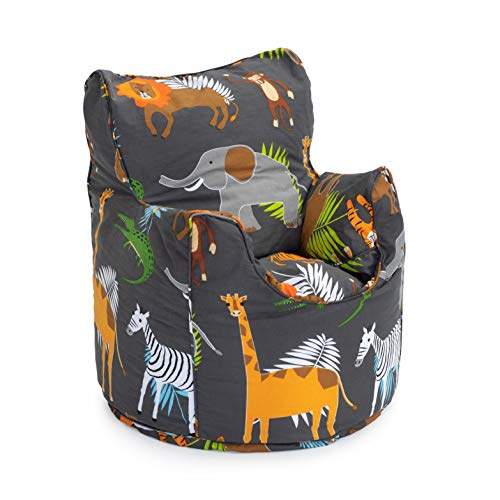 Ready Steady Bed Kids Toddler Armchair | Comfy Children Furniture | Soft Child Safe Seat Playroom Sofa | Ergonomically Designed Bean Bag Chair (Africa)