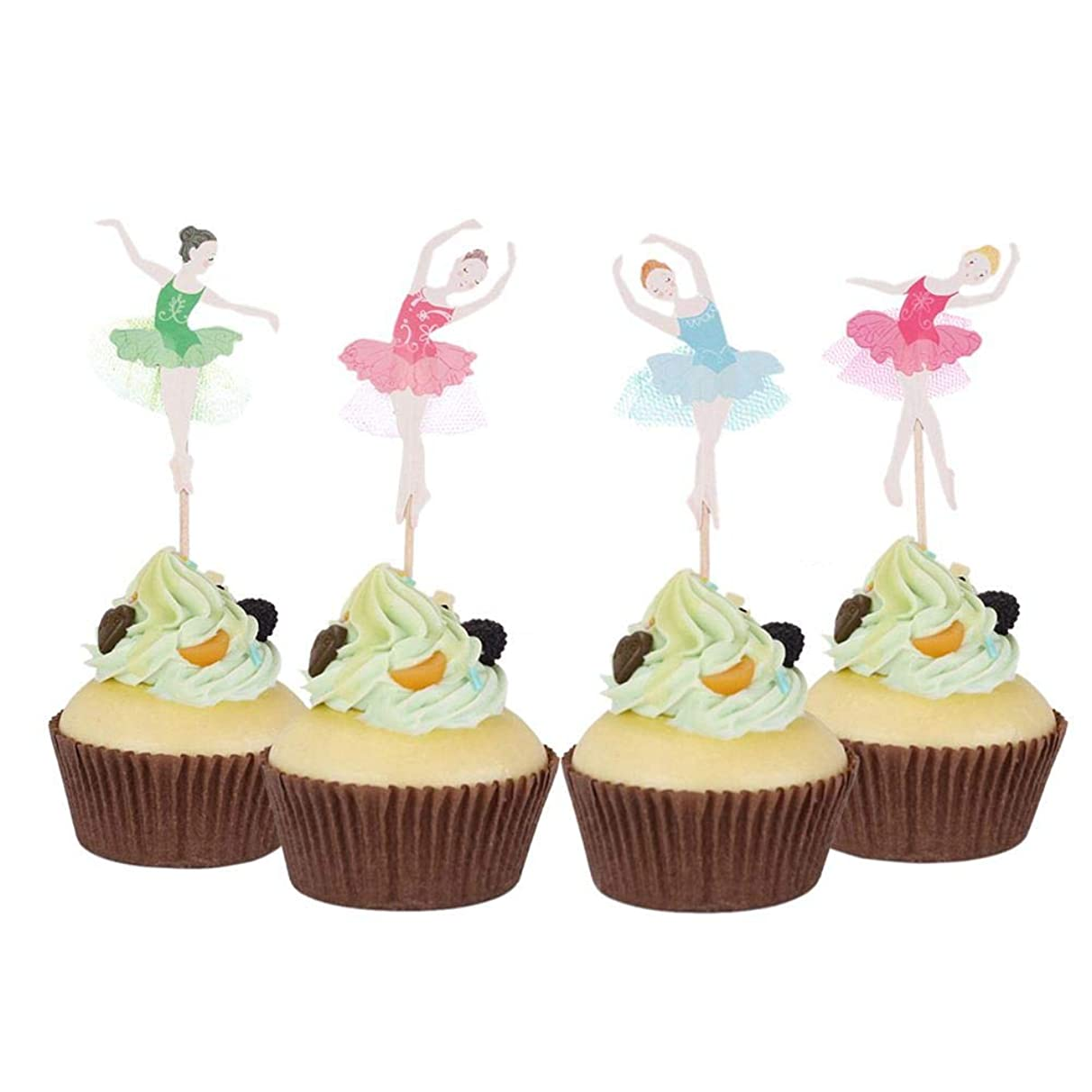 Cake Decorating Supplies - 24 Pcs Ballerina Girl Cupcake Baby Birthday Party Decorations Cake Card - Kit-baking Shower Beginners Molds Decorating Printer Poker Professional Camping Grass Br