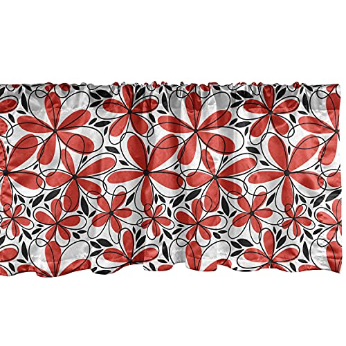 Ambesonne Red and Black Window Valance, Doodle Art Style Abstract Flowers with Red Petals and Black Leaves, Curtain Valance for Kitchen Bedroom Decor with Rod Pocket, 54