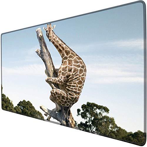 mauspad groß gaming Giraffe Kletterbaum Nettes lustiges Tier Erweiterte Gaming-Mausunterlage Übergroße riesige xxl xl Rutschfeste wasserdichte Schreibtischmatte