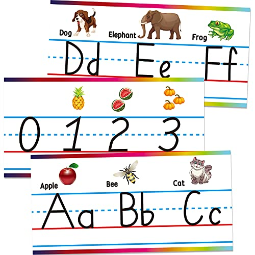Alphabet Bulletin Board Set for Classroom, ABC and Numbers 0-10 Strip Border for Wall with Double-Sided Transparent Adhesive, Learning Supplies for Kindergarten/Nursery/Preschool/Bedroom Decorations