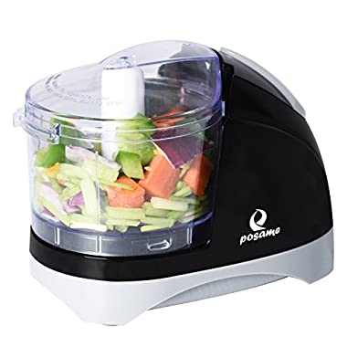 POSAME Chopper Dual Blade 1.5 Cup One-Touch Mini Food Chopper Food Processor Black