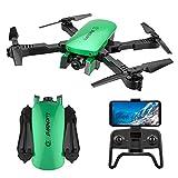 Xwenf R8 Drone avec caméra aérienne 4K HD, Pliant RC Drone pour Les débutants avec Un positionnement de Flux Optique Gesture Photo Video Image Suivre Altitude Tenir, Vert