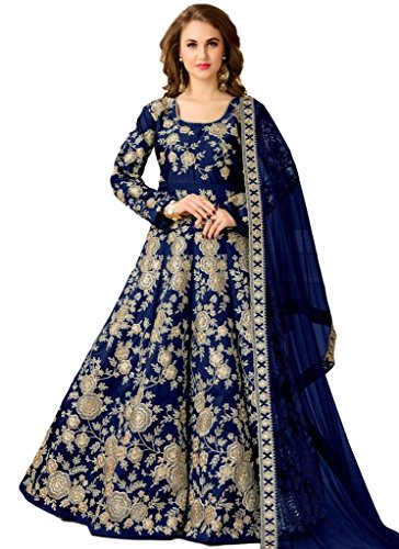 Ethnicwear Beautiful Traditional Blue Artsilk Partywear Festivalwear Cultural Designer Floorlength Anarkali Suit