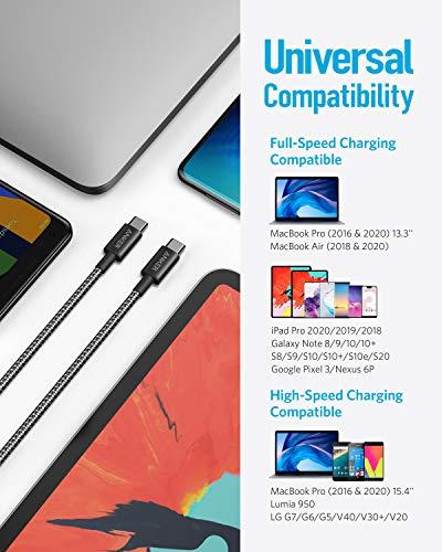 Anker New Nylon USB-C auf USB-C Ladekabel 1,8m Länge, Doppelpack, mit Power Delivery für MacBook Pro 2020, iPad Pro, Galaxy S20, Switch, Pixel, LG und USB-C Ladegeräte