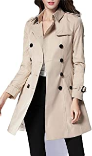 Macondoo Womens Fashion Lapel Outwear Double-Breasted Windbreaker Trench Coat