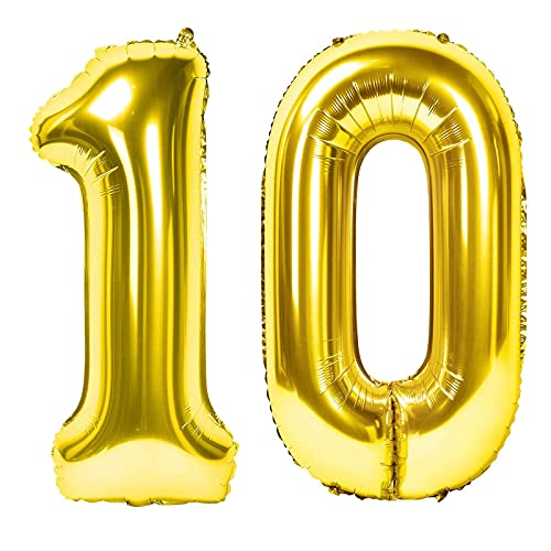 Siumir Globos de Numero Dorado Número 10 Grande Globos de Cumpleaños Papel de Aluminio Globos Decoración de Fiestas de Cumpleaños