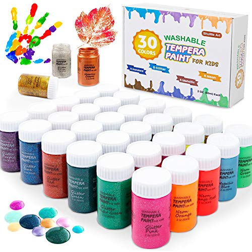 Washable finger paint (with glitter colors too!)