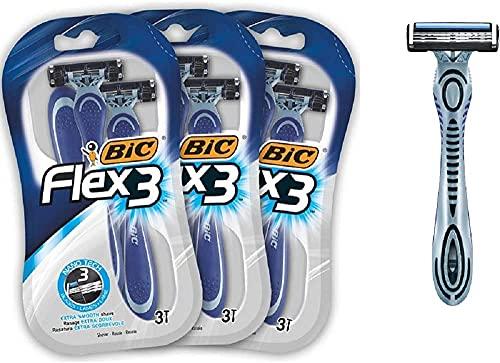 BIC Flex3 Men's Disposable Razors - Bundle of 3 Packs of 3