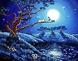 Kit de pintura de diamantes 5D,Cielo azul árboles hierba animales gatos Bordado redondo del punto de cruz del diamante del taladro para los niños de los adultos, para la decoración casera