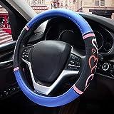 [新しいドレス] 女性用 ハンドルカバー 軽自動車 ステアリングカバー ブラック ラブ フィット ワゴンなど用 滑りにくい かわいい sサイズ (青)