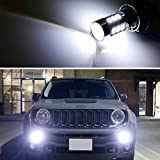 iJDMTOY (2) 6500K White LED Daytime Running Light Bulbs Compatible With 2015-2018 Jeep Renegade