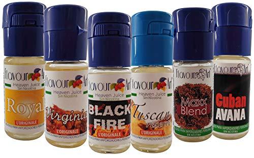 Flavour Art E-Liquid 6x10ml 0,0g nicotina.Set Tabaco líquidos con sabor a: Tabaco Rubio Americano para todos los Vapers, Cigarrillos Electrónicos y Pods del mercado. No Nicotine.