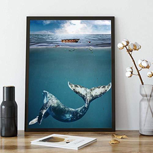 yaoxingfu Puzzle 1000 Teile Whale Art Malerei Tier blau Puzzle 1000 Teile Landschaft Pädagogisches intellektuelles Stressabbau-Spielzeug-Puzzle50x75cm(20x30inch)