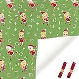 Zoeay Hoja De Papel Para Envolver,Papel De Regalo,Papel de regalo para Navidad,papel marrón doblado de 70 * 50 cm Papá Noel, Reno, Bastón De Caramelo,para todas las ocasiones de cumpleaños-# 9