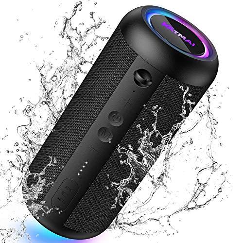 Kabelloser Bluetooth Lautsprecher, KATMAI E8-L,Bluetooth 5.0, Bass-up,Verlaufslicht,IPX65 wasserdicht, 20-Stunden Spielzeit, Wireless Stereo-Dual-Pairing, Lautsprecher für Zuhause, draußen, Reisen