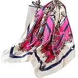 Ecroon Fulares Pañuelos para la cabeza Bufandas Pañuelo de Cuadrado para Mujer (K, One size)