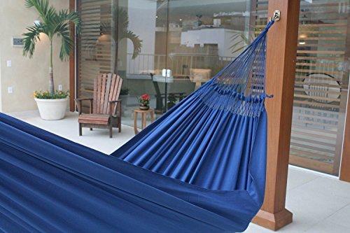 NOVICA Sustainable Cotton Blue Fabric 2 Person Brazilian Hammock, Ipanema Nocturnal