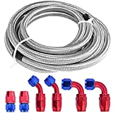 12Ft Universal 6AN Braided Oil Fuel Line Stainless Steel Fuel Hose W/ 6 Pcs AN6 Hose Compatible for Kit