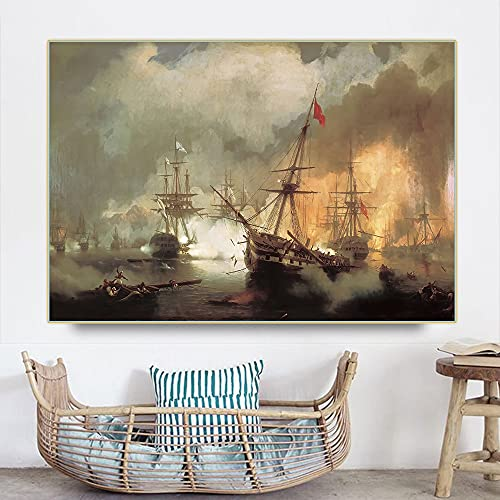 "Batalla naval Cuadros De Arte En Lienzo Cuadros De Decoración De Sala De Estar Para Carteles E Impresiones De Dormitorios Modernos Ivan Aivazovsky 60x87cm 24 ""x34"" (sin marco)"