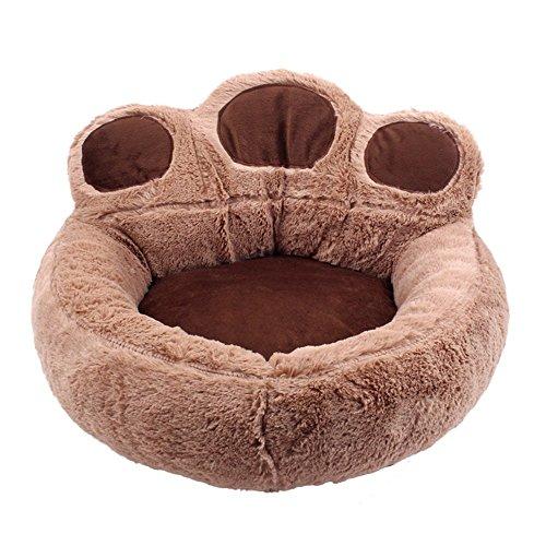 GLEYDY Haustierbett,Süßes Pfotenform Hundesofa Hundebett Weiches Hundekissen Comfort Hundematte Baumwoll-Bett für Kleiner Mittlerer Hunde Katzen Dunkelgrau,Braun,62 * 68cm