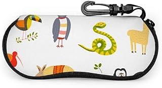 Funda Gafas Niños dibujando animales Neopreno Estuche Ligero con Cremallera Suave Gafas Almacenaje