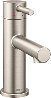 Moen 6190BN Align One-Handle Modern Bathroom Faucet with Drain Assembly and Optional Deckplate, Brushed Nickel