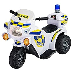 Fits in most cars. Includes: a Police ride-on. Charging Time: 8 Hours. Top Speed: 2 Km/h. Maximum user weight: 25Kg.