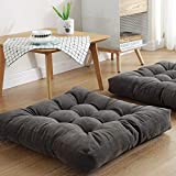 Square Floor Seat Pillows Cushions 22' x 22', Soft Thicken Yoga Meditation Cushion Pouf Tufted Corduroy Tatami Floor Pillow Reading Cushion Chair Pad Casual Seating for Adults & Kids, Dark Grey