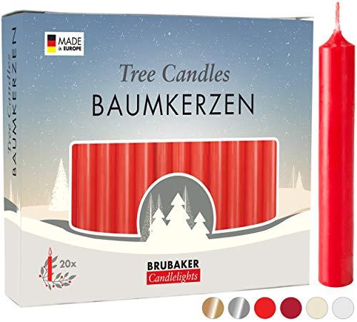 Brubaker 20er Pack Baumkerzen Wachs - Weihnachtskerzen Pyramidenkerzen Christbaumkerzen - Rot