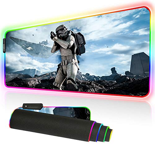 Bimormat RGB Gaming Mouse Pad Large Mouse Mat, 35.4 X 15.7 Inch Extra LED Extended Mousepad, Non-Slip Rubber Base Mouse Keyboard Mat (90X40 fgstarwar)