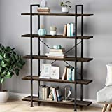 LANGRIA 5 Tier Industrial Bookshelf, Wood Metal Bookcase Black Book Shelf Iron Frame Espresso Antique Shelving Unit, Open Etagere Stand Storage Organizer Accent Furniture for Home Office