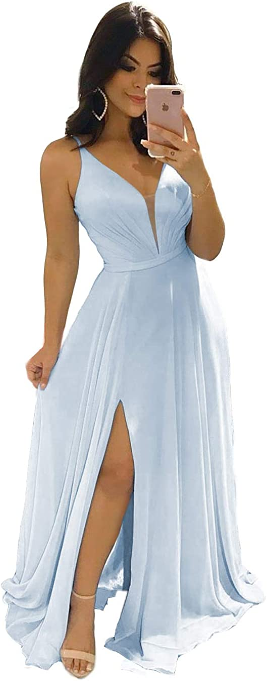 Fort Worth Mall Low price Clothfun Women's V-Neck Bridesmaid Dresses Simple Long Women for