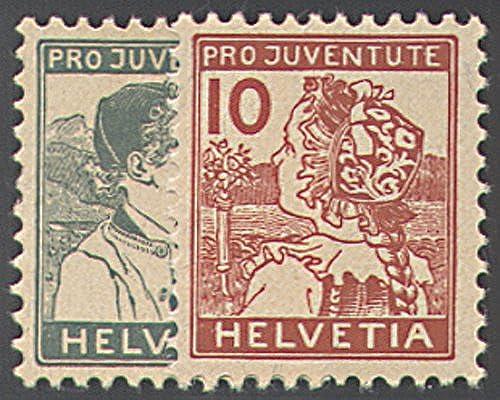 Goldhahn SchWeiß Nr. 128-129 postfrisch  Pro Juventute 1915  Briefmarken für Sammler