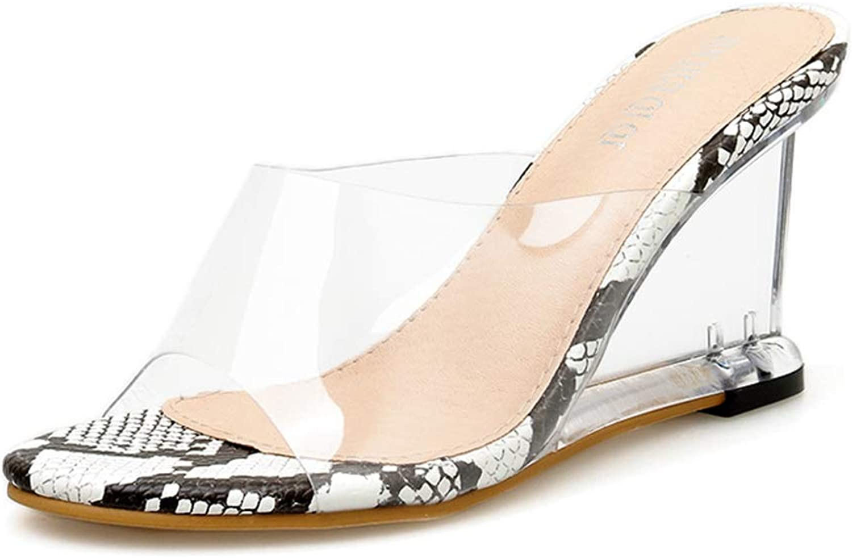 Btrada Female Spring Summer Transparent Slides Crystal High Heel Wedge Sandals Fashion Print Sexy Slippers