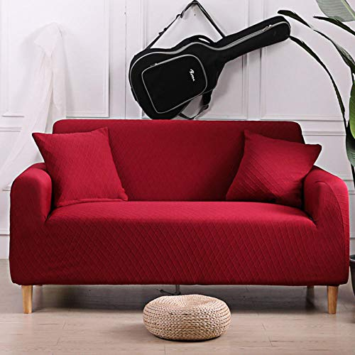 Fsogasilttlv Stretch Sofa Covers Soft Washable 2 Seater,Protector Solid Printed Sofa Covers For Living Room, Couch Cover Corner Sofa Slipcover L Shape Red 145-185cm(1pcs)