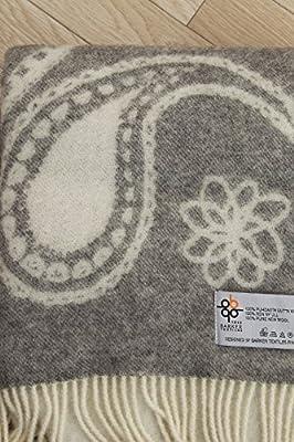 Barker Textile バーカーテキスタイル ウール 毛布 ペズリー 柄 シングル サイズ 130×170cm ストール にも 対応 フリンジ 付 ブランケット (灰色, シングル)