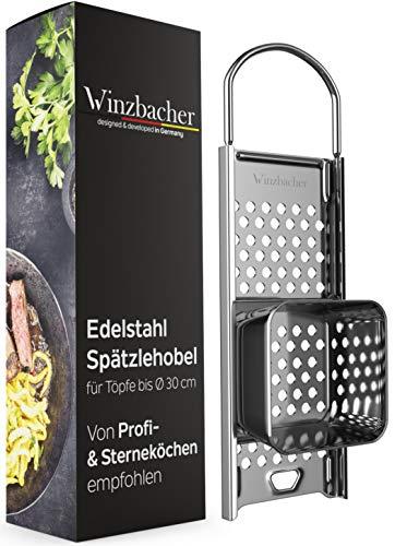 Winzbacher® Edelstahl Spätzlehobel mit Teigschlitten [Topf Ø von 16-30cm] Spülmaschinenfest | Rostfrei | Spätzlereibe, Spätzlesieb, Spätzlepresse, Reibe | ideal für Spätzle und Knöpfle