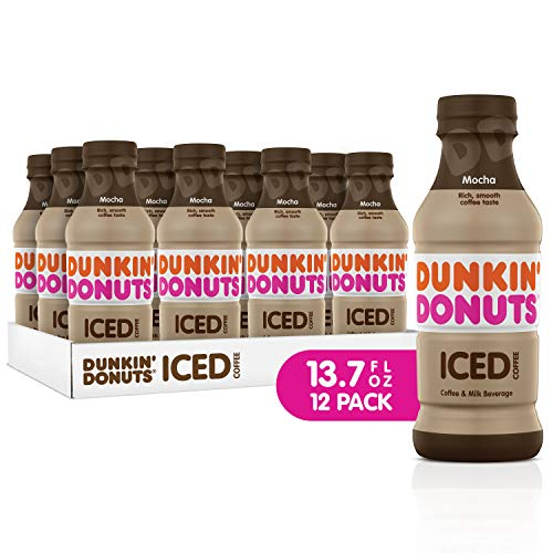 Dunkin Donuts Iced Coffee, Mocha, 13.7 Fluid Ounce (Pack of 12)