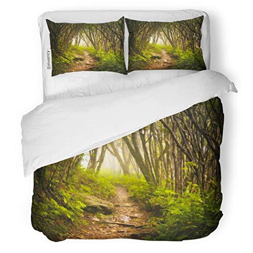 SanChic Duvet Cover Set Craggy Gardens Appalachian Hiking Trail Fog Blue Ridge Decorative Bedding Set with 2 Pillow Cases King Size
