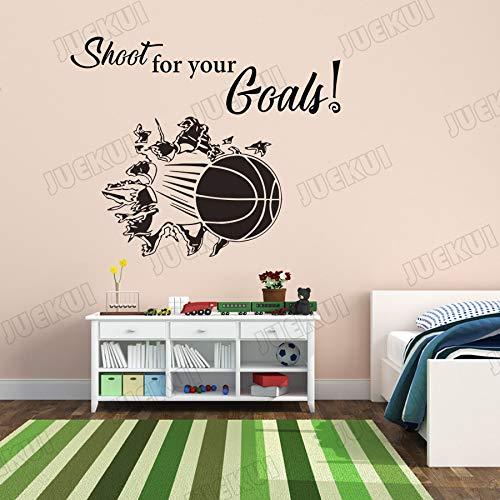 Dispara a tus objetivos Baloncesto Pegatinas de pared para niños Dormitorio Decoración para el hogar Vinilo Tatuajes de pared Sala de estar Póster Murales TA_71X57cm