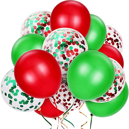 TecUnite 80 Pieces Christmas Balloons Latex Balloons Confetti Balloons Colorful Party Balloons for Christmas Halloween Mermaid Valentine's Day St. Patrick's Day, 12 inch (Red, Green)