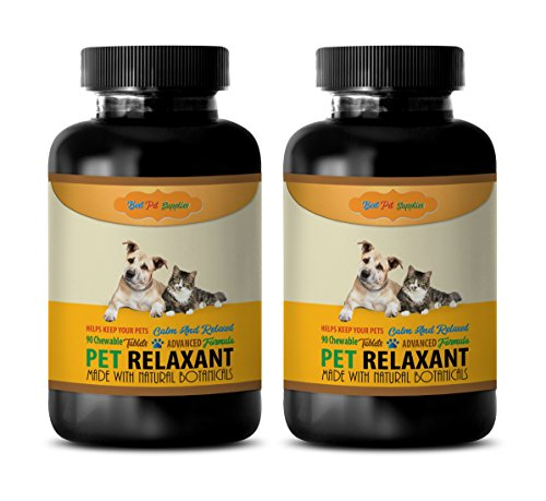 BEST PET SUPPLIES LLC Dog Calming aid for Travel - Relaxant for Pets - Dog and CAT Treats - Keep Calm and Relaxed - Valerian Dogs - 180 Chews (2 Bottle)