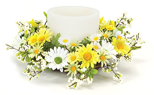 Melrose International Yellow and White Daisy Candle Rings, 12-Inch